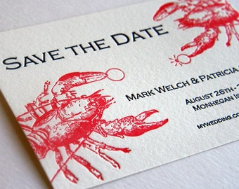 Custom Letterpress Save the Date - Lobster - destination wedding