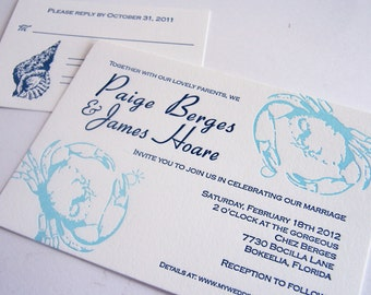 Custom Letterpress Wedding Invitation - Florida Blue crab - Beach wedding