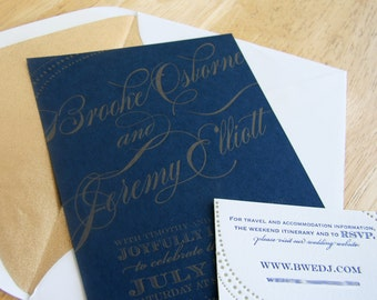 Custom letterpress wedding Invitation - Navy and Gold