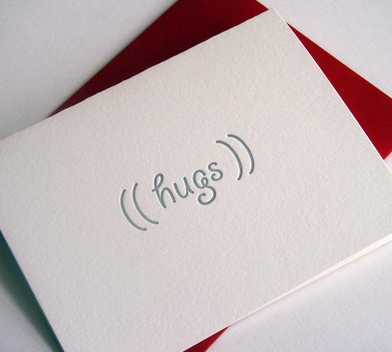 Letterpress Valentine's Day card - Sympathy card - hugs