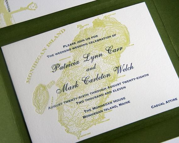 Custom Letterpress Wedding Invitation Set  - Destination Wedding - map