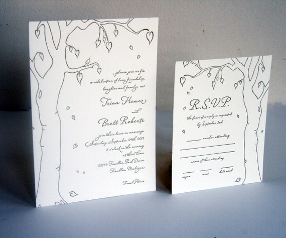 Fall Wedding Letterpress Wedding Invitation Set - custom set