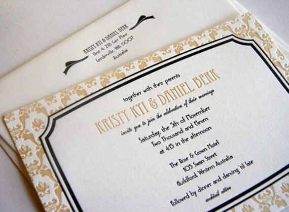 Art Deco - Letterpress Wedding Invitation - French Vintage