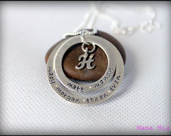 Hand Stamped Family Necklace, Stamped Name Necklace, Monogram Necklace, Washer Necklace, Layered Washer Necklace, Stacked Necklace, Mama Mia
