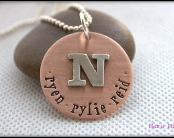 Copper Initial Necklace, Hand Stamped Necklace, Name Necklace, Copper Necklace, Monogram Necklace, Mommy Necklace, Mixed Metal Jewelry,