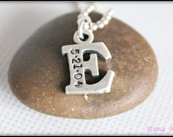Chunky Initial Hand Stamped Necklace