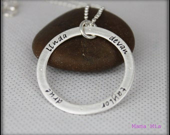 Family Circle Hand Stamped Necklace