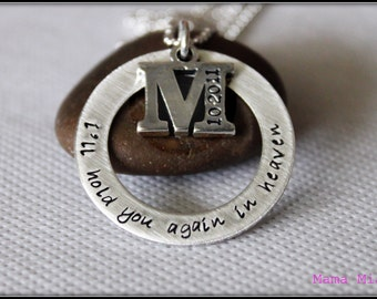 Hand Stamped Memorial Necklace, Memorial Necklace, Washer Necklace, Infertility Necklace, Baby Loss Necklace, Miscarriage Necklace, Mama Mia