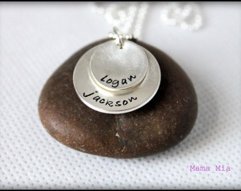 Hand Stamped Necklace, Hand Stamped Name Necklace, Cupped Disc Necklace, 2 Disc Necklace, Layered Disc Necklace, Stacked Necklace, Mama Mia