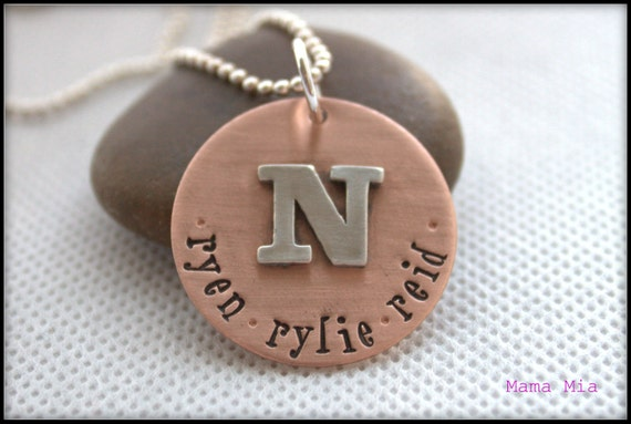 Copper Disc with Soldered Initial Hand Stamped Necklace