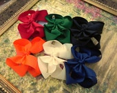 Set of 6 Large Fall - Back to School - Hair Bows  -  U pic the clip