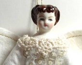 White and Cream Vintage Look Miniature Angel Ornament