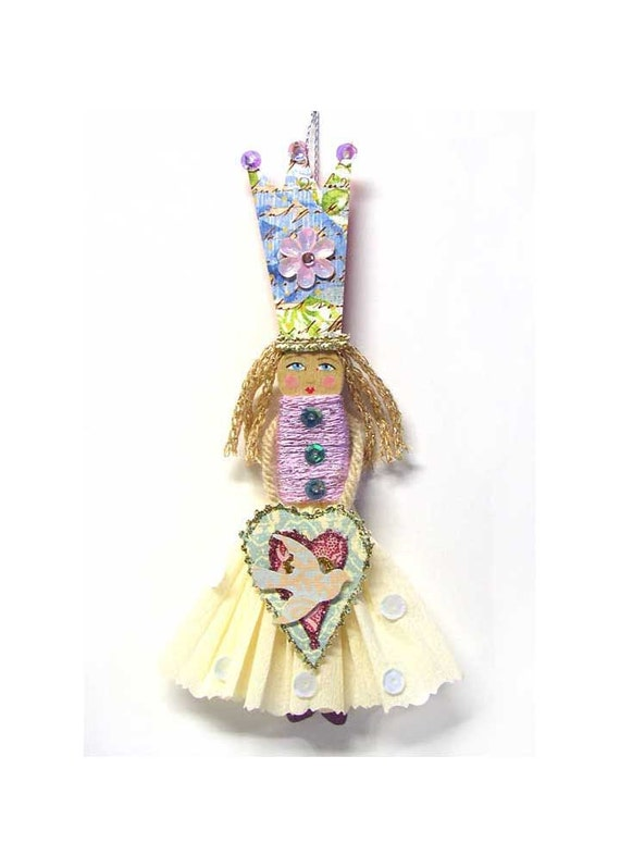 SALE Modern Folk Art  Clothespin Doll with a Tall Paper Crown Ornament