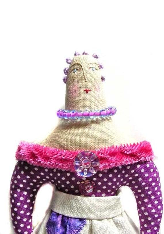 SALE Folk Art Doll Purple and Magenta Dots