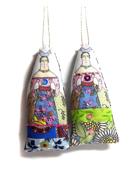 SALE Small Cloth Folk Art Doll Ornaments  Use coupon code LOVE15 at checkout for 15% OFF.