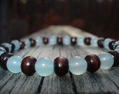 Wooden Blue Glass Bracelet- Sky's the Limit 35% Off Price and FREE SHIPPING