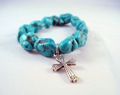 Turquoise Blue Bracelet  with Cross Charm Elastic, Religious, Gift for her, Mother's Day, Azure, Spring Colors, Faux Turquoise