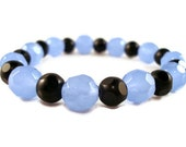 Blue Stretchy Bracelet with Sky Blue and Black Glass Beads on Elastic