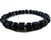 Black Glitter Bracelet with Round and Square Starry Glass Beads on Stretchy Elastic