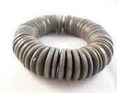 Stretchy Wood Bracelet with Dark Brown Wooden Disc Beads on Elastic