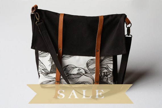 SALE- brown ships messenger bag