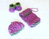 Pretty Petals Beanie, Booties, and Diaper Clutch Set Crochet Pattern PDF 421