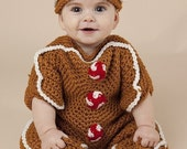 Unisex Gingerbread Bunting and Hat Set Crochet Pattern PDF 242 Great photo prop pictures 2sizes