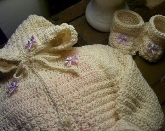 Infant Hooded Sweater Crochet Pattern Heriloom Unisex Sweater and Bootie Set pdf 277