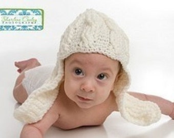 Infant Cable Long Earflap Hat Crochet Pattern Cute for Boys or Girls PDF 281
