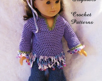 145 PDF  That's 70 s look Hippie Outfit Crochet Pattern for 18in dolls