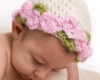 Infant to Adults Fairy Princess Band of Roses Beanies to Crochet Pattern 178 Instructional Video Link included with purchased pattern