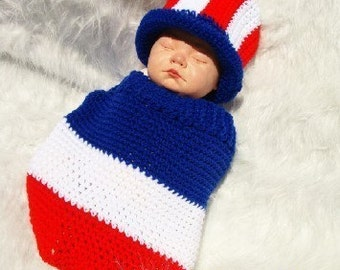 Patriotic Baby Cocoon and Hat Crochet Pattern PDF 427