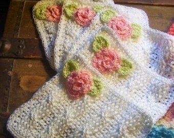 Crochet Washcloths and Cable Soap Bags Crochet Pattern PDF 256