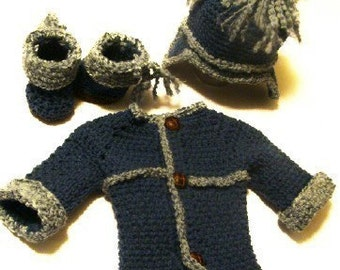 Denim look Sweater, Hat and Booties 0-6months PDF Crochet Pattern 233