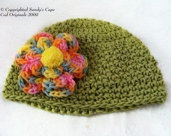 Colorful Fluffy Flowered Beanie for Infants to Adults Crochet Pattern PDF 131