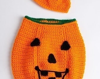 Pumpkin Cocoon and Hat Set to Crochet Pattern PDF 445