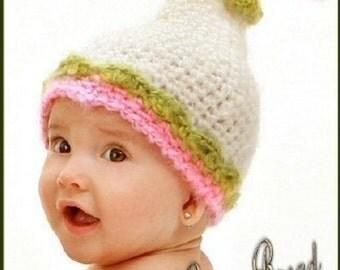 Girls Tall Pixie Gnome Flower Hat PDF crochet pattern 304