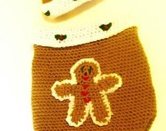 Gingerbread Cocoon and Hat Set Crochet Pattern PDF 499