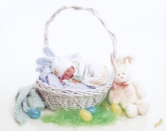 Fluffy Newborn Cocoon and Bunny Hat Set Crochet Pattern PDF 186