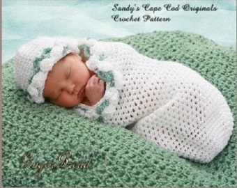Preemie Cocoon Crochet Pattern Precious Angel cocoon and beanie  pdf 176 Instructional Video Incldued