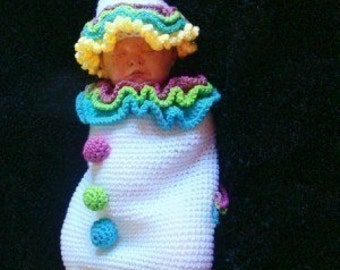 Infant Clown Cocoon and Hat Crochet Pattern pdf 412