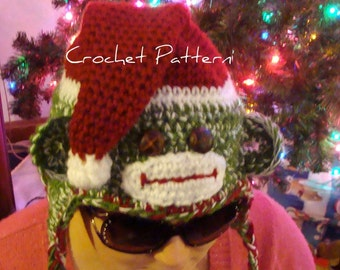 Christmas Sock Monkey Hat Crochet Pattern pdf 512 for baby,children,teens to adults