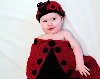 Ladybug Cocoon and Hat Crochet Pattern PDF 518 Newborn to 2months size