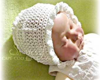 Christening or Dedication Baby Bonnet pdf673 digital crochet pattern Permission to sell finished item