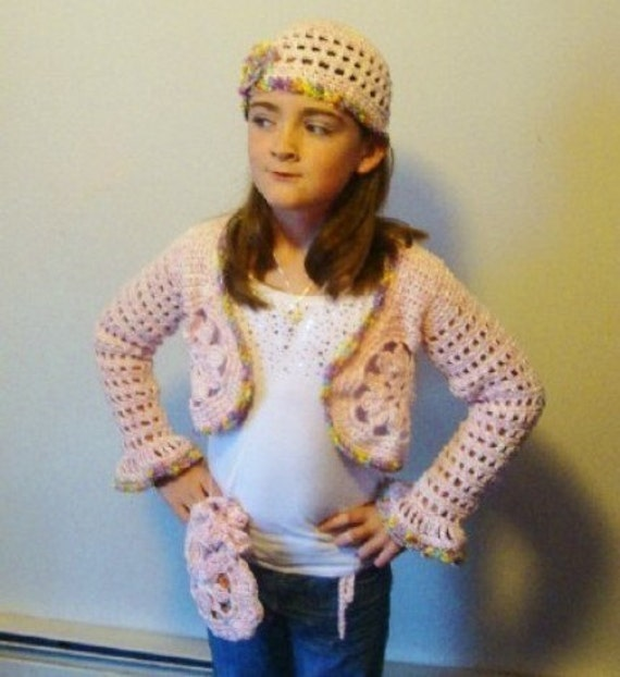 Girl's Bolero, Beanie and Purse Crochet Pattern size 8 or girls medium PDF 275