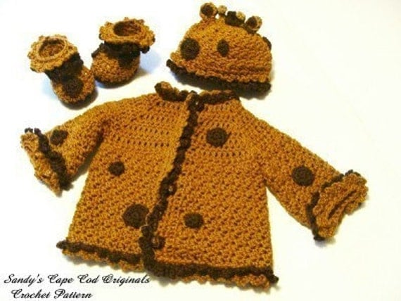 210 PDF 3piece Giraffe Sweater, Beanie and Booties Set Crochet Pattern
