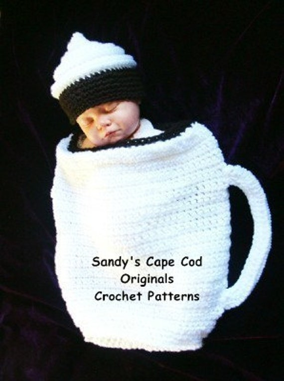 NewBorn Baby Hot Cocoa Cocoon and Beanie, Great for Photo Props, Crochet Pattern PDF 330