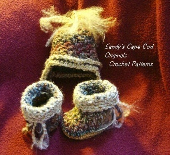 Earflap Hat and Baby Booties Crochet Pattern Quick and Easy to Make PDF 208