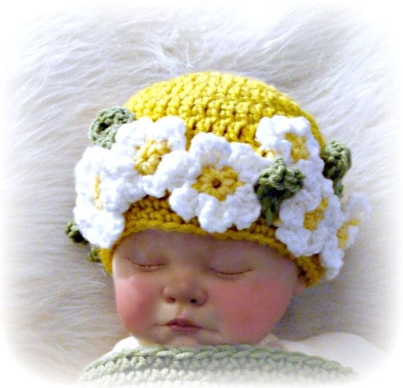 Flower Child Daisy Beanie Crochet Pattern Infants to Adult sizes PDF 301