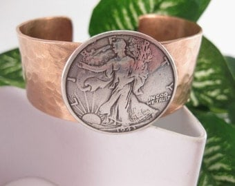 Made To Fit You Walking Liberty Concho Hammered Copper Cuff Bracelet. Free shipping to US locations, reduced rates to all other countries.